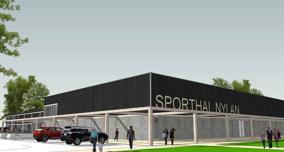 De te bouwen sporthal bij Leeuwarder Zwaluwen